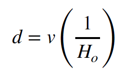 Equation. Distance equals velocity times one over the Hubble constant.