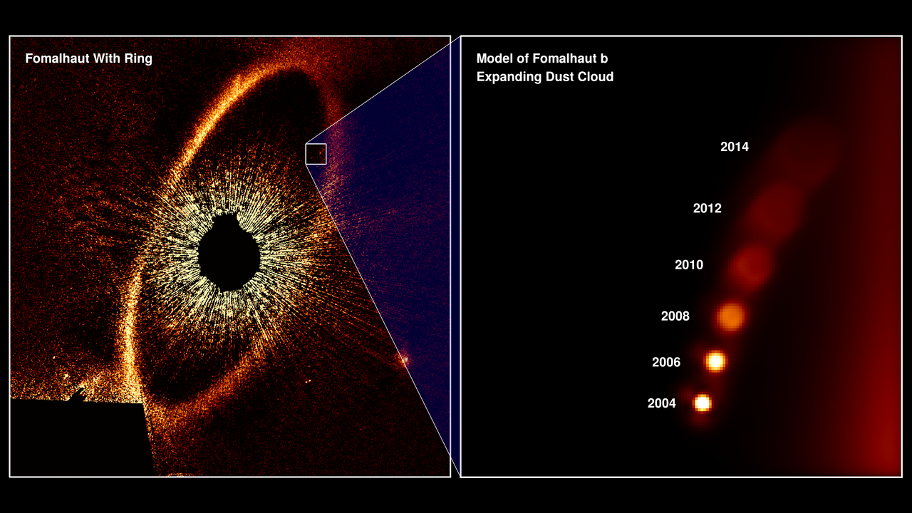 Direct coronagraph image taken of Fomalhaut, showing evidence of an orbiting planet. Inset image shows model of the planet's position over time.