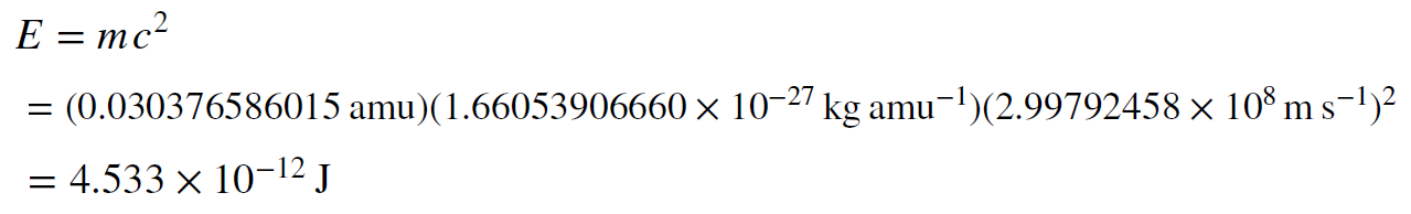 Equation, e equals m c squared. Solved to 4.533 times 10 to the negative 12 Joules.
