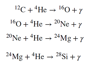Equations, 4 lines. First: Carbon 12 plus Helium 4 yields Oxygen 16 and gamma. Second: Oxygen 16 plus Helium 4 yields Neon 20 plus gamma. Third: Neon 20 plus Helium 4 yields Magnesium 24 plus gamma. Fourth: Magnesium 24 plus Helium 4 yields Silicon 28 plus gamma.