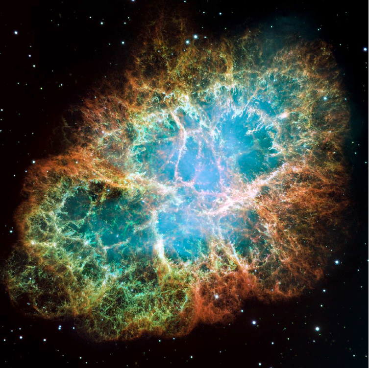 Image of the Crab Nebula, a supernova remnant.