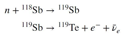 Equations on two lines. First: one neutron plus antimony 118 yields antimony 119. Second: antimony 119 yields tellurium 119 plus one electron plus one antineurino.