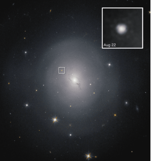The host galaxy, NGC 4993, for the gamma-ray burst, showing its position.