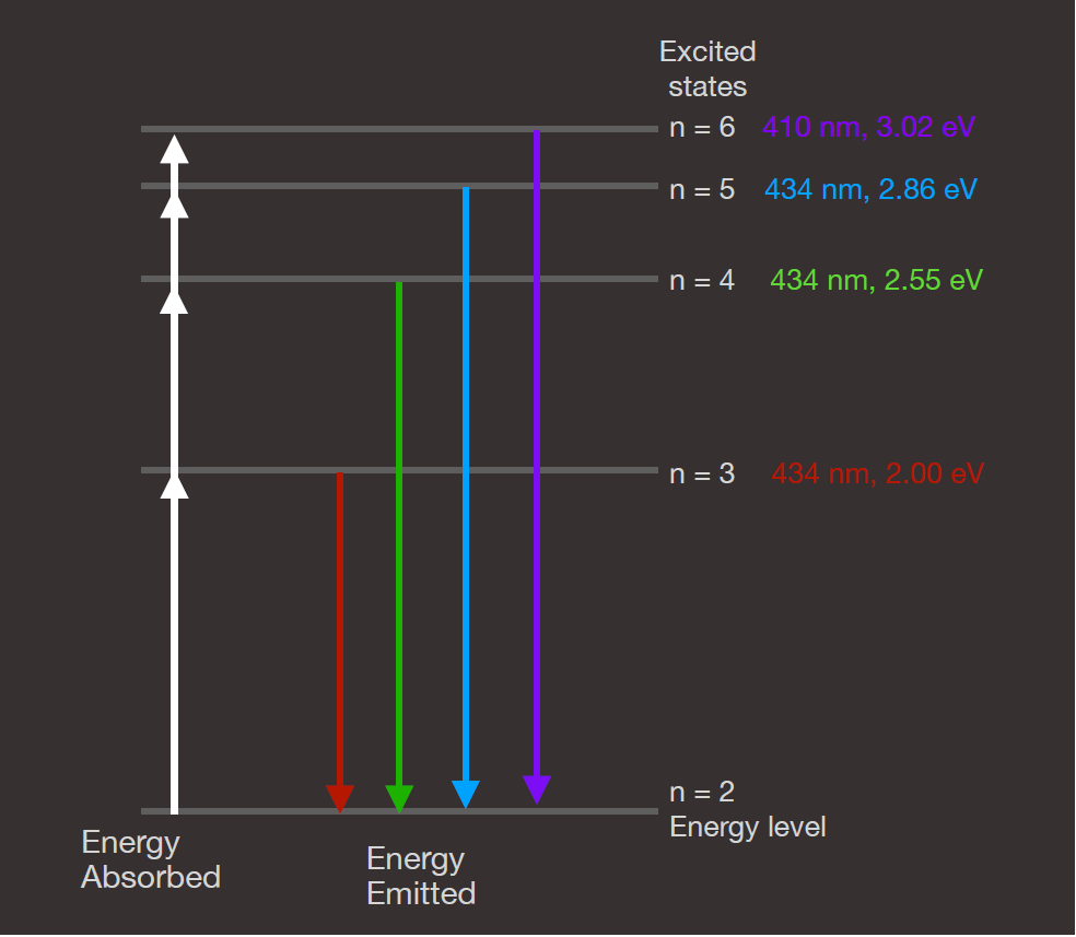 This figure depicts the energy levels in a hydrogen atom. The electron in hydrogen can have any of these levels, but no others. In general, the electron will occupy the lowest energy available, which is the ground state, not shown in this diagram. This figure shows the bottom few levels that produce the visible light spectral lines in hydrogen, and these all involve the first excited state of the atom.